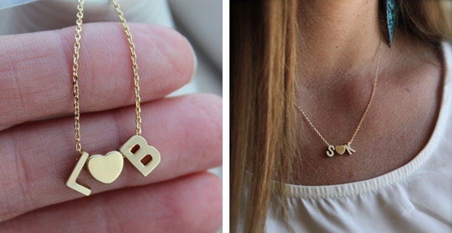small initials necklace