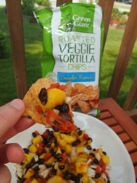 Try a simple and fresh salsa with Green Giant Veggie Chips for a great appetizer!