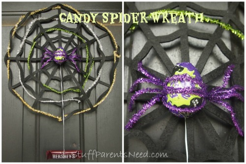 candy spider halloween wreath