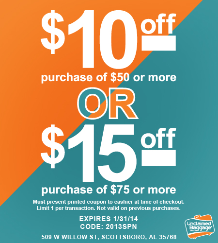 unclaimed baggage coupon