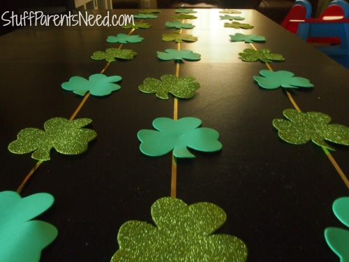 st. patrick's day craft: shamrock garland with glue dots