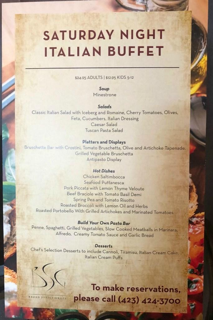 broad street grille italian buffet menu