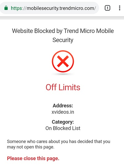 block sites on android using antivirus