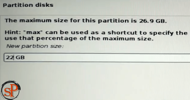 enter size of partition