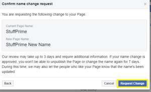 how to change facebook page name quickly