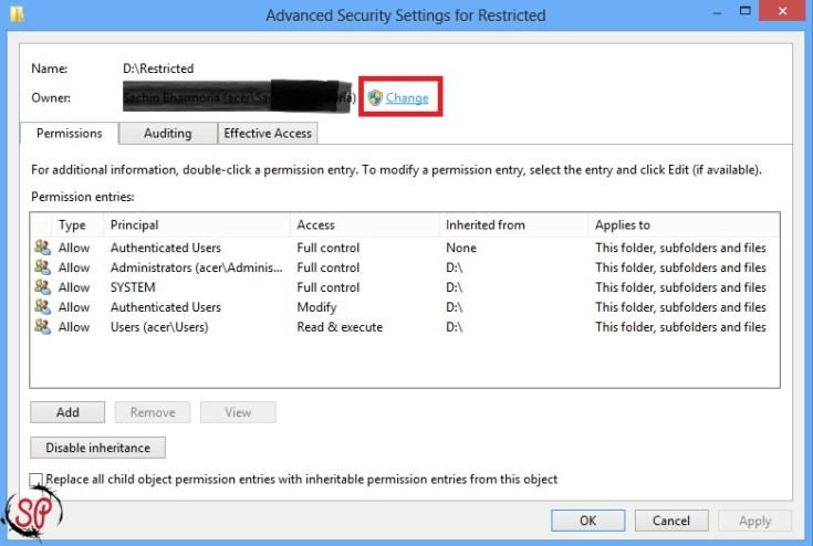 change owner of folder windows