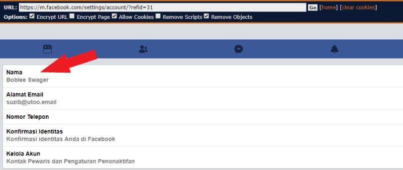 click on name option in facebook settings