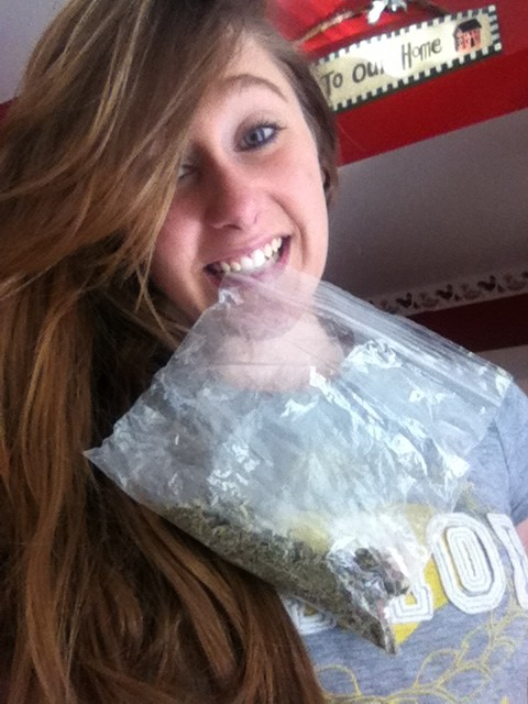 cute girl with lotsa weed in a bag
