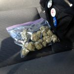 bag of weed on a car seat