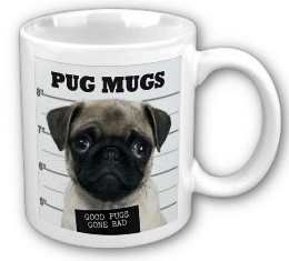 Pug Mug Shot on a coffee mug
