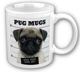Pug Mug Shot on a coffee mug