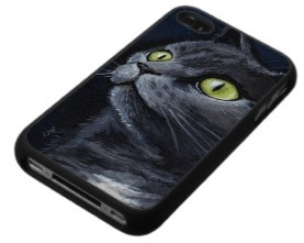 Dark Cat with green eyes on a iPhone 4 case