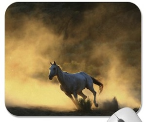 Horse picture mousepad with a running horse