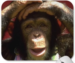 Smiling chimpanzee mousepad for monkey lovers