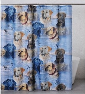 Dog Shower curtain with Labrador retriever on it
