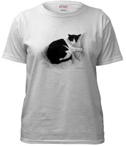 Cat Sleeping on T-shirt