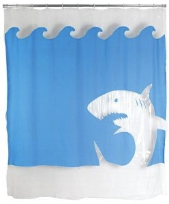 Jaws great white shark shower curtain