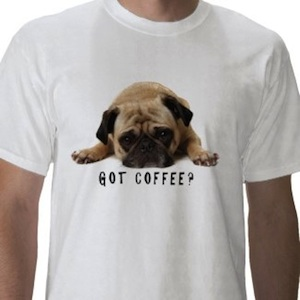 pug needs coffee t-shirt