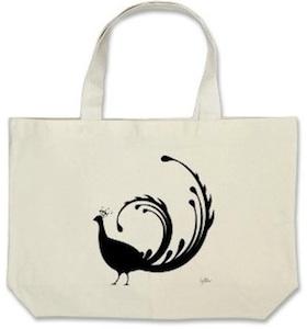 peacock fabric tote bag