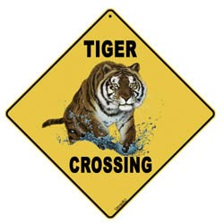 Tiger Crossing yellow sign