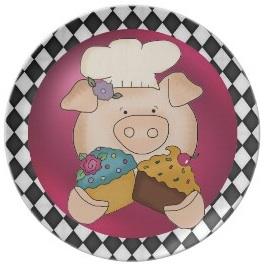 Piggie cupcake plate