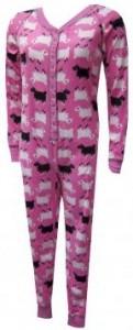Let's Count Sheep Pink Fleece Union Suit for women