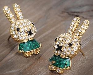 Green Rhinestone rabbit earrings