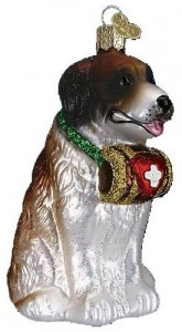 Saint Bernard Glass Christmas Ornament