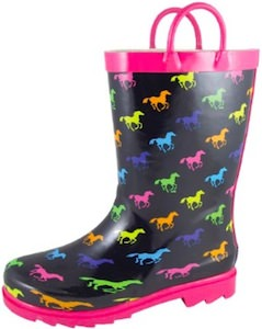 Kids rain boots with horses