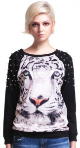 Tiger Face Rivets Detail Sweater