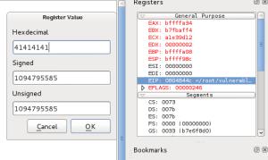 EIP points to 0x41414141