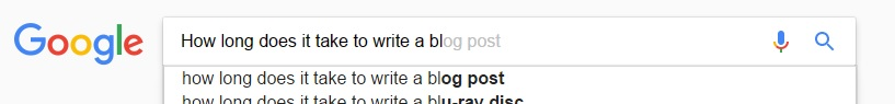 Google search for 'How long does it take to write a blog post?'