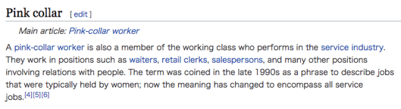 A pink-collar worker is also a member of the working class who performs in the service industry.