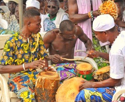 Drummers at the Voodoo Festival, Ouidah, Benin (Fete du Vodoun)