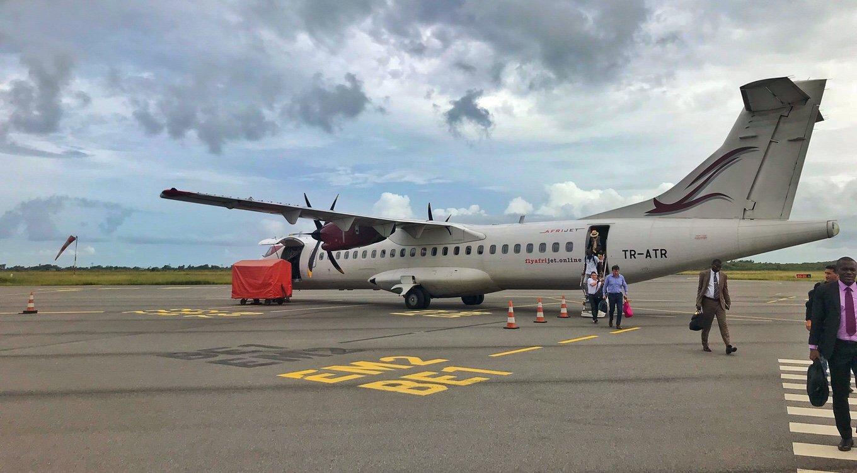 Afrijet plane at Port Gentil airport, Gabon