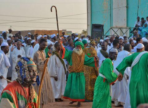 Friday prayers at the Hamad el Nil Mosque, Omdurman, Khartoum, Sudan