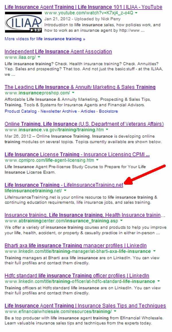 life_insurance_training_SERPs