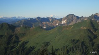 White Pass is the saddle in the foreground just to the left of Mt. Rainier