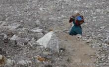 Tibetan woman on her way to Upper Langtang