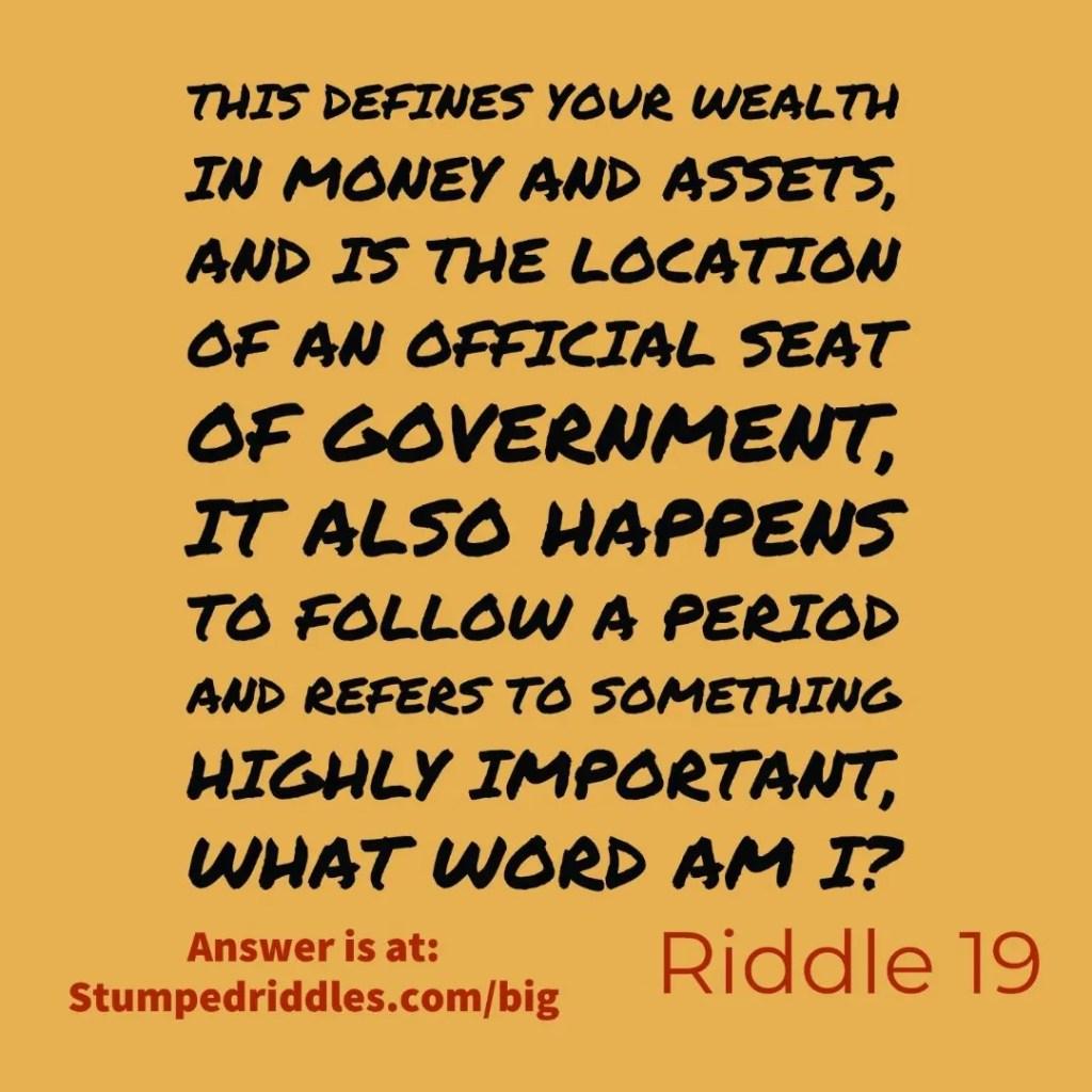 StumpedRiddles.com Riddle 19