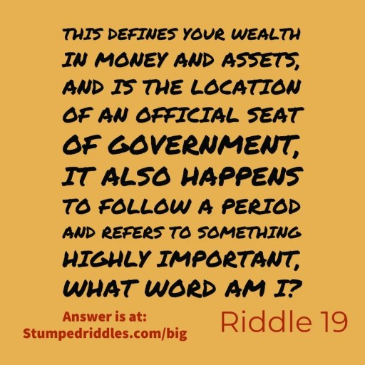 StumpedRiddles.com Riddle 19