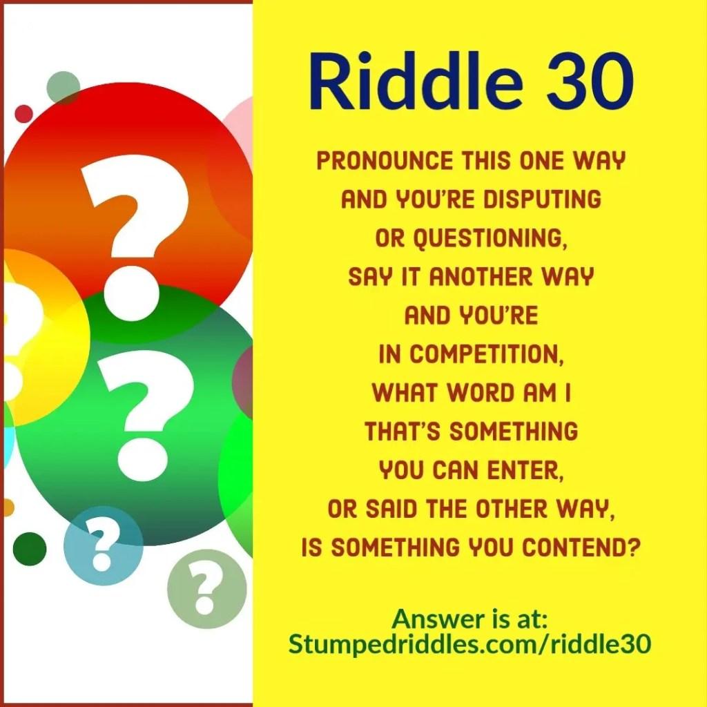Riddle 30 on StumpedRiddles