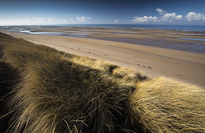 Aberlady Bay, East Lothians, beach walk, tide out