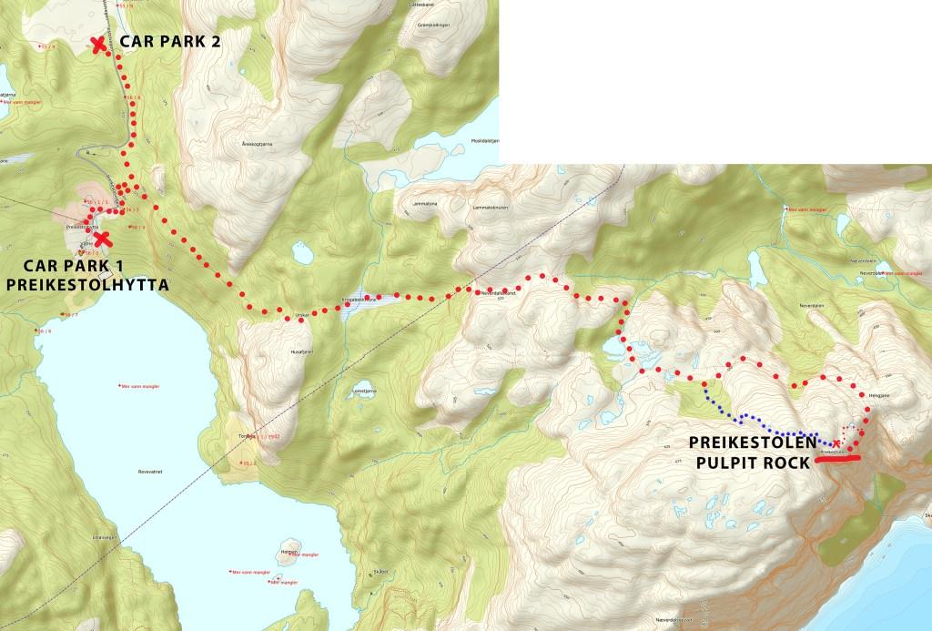 Preikestolen hike route map
