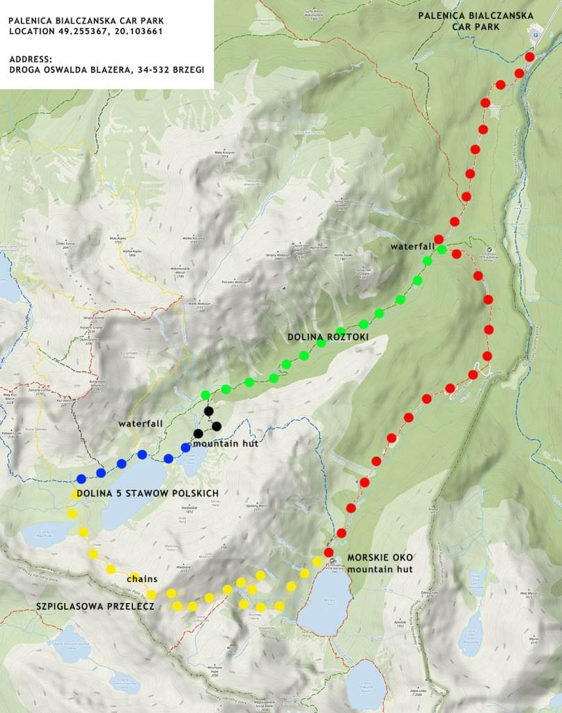 Hiking Morskie Oko to Dolina 5 Stawow map