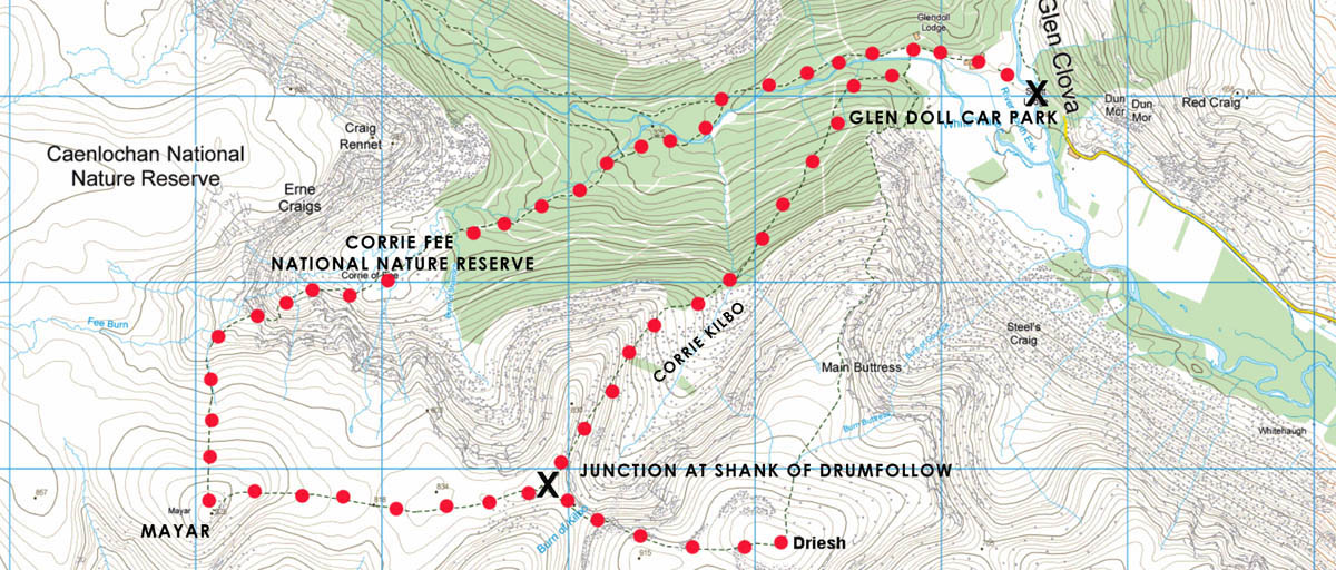 Driesh and Mayar hiking map