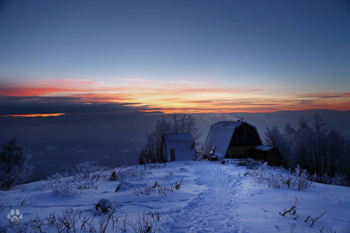 Jure Franko hut in a wintry evening