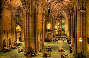 The interior of the Cathedral of Learning on the University of Pittsburgh's campus. Saved from faithtravelfocus.com. No photo credit given.