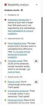 Copy editing tool Yoast SEO Read-able