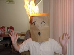 Pic of bag head on fire.